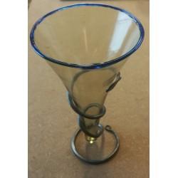Stort viking glas med blå kant